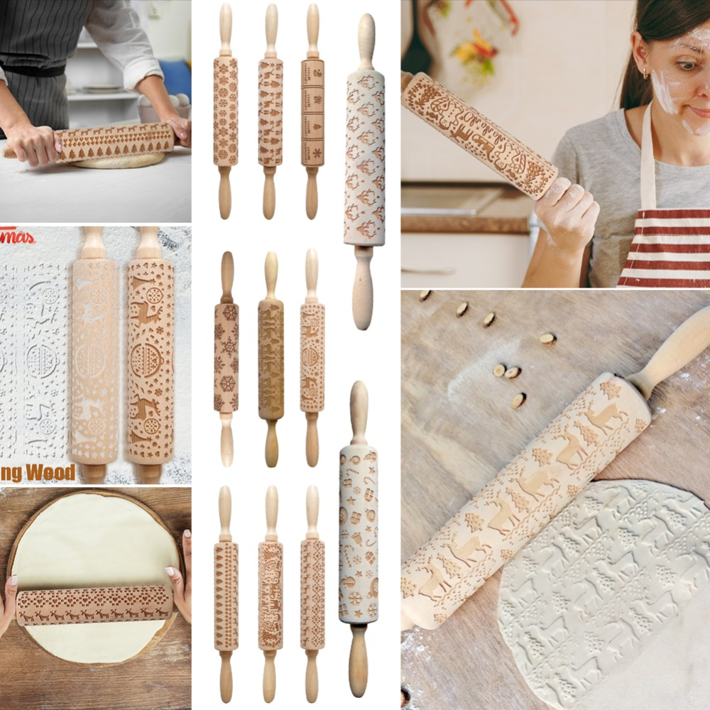 Wooden Embossing Rolling Pin as Cake/Cookies Decorating Tool for Home Kitchen 1