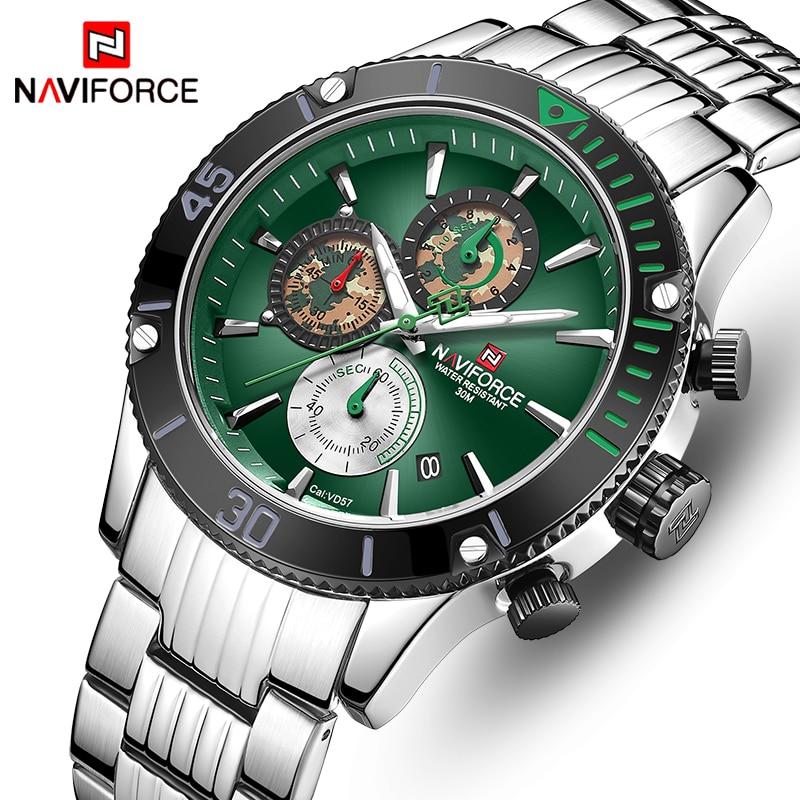Men Watches NAVIFORCE Top Brand Stainless Steel Quartz Watch Men Chronograph Military Sport Clock Wrist Watch Relogio Masculino
