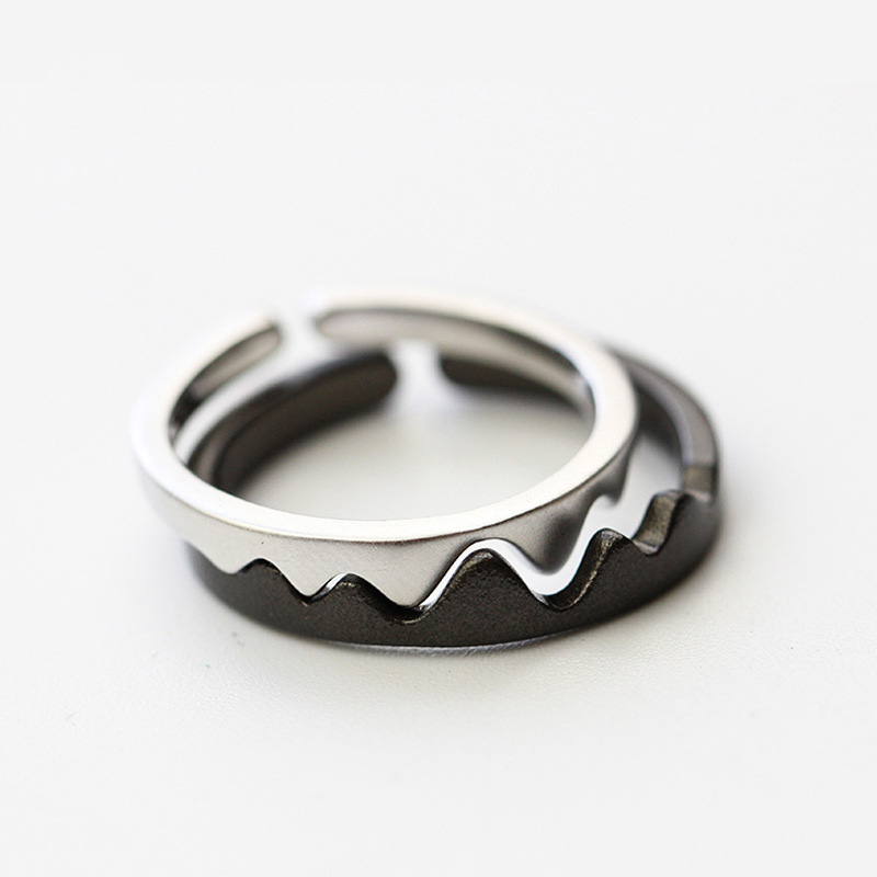 925 Sterling Silver Black White Couple Rings For Women Men Wave Adjustable Opening S925 Finger Rings Jewelry ECG Ladies Gift