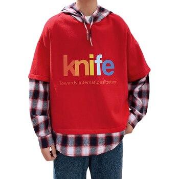 Spring Hooded Men's fake two-piece print sweatshirt Outwear Casaul Sweatshirt Coat Kangaroo Pocket Hip Hop Street-wear  Homme