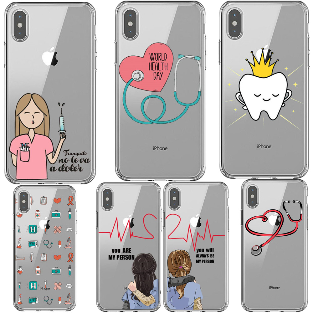 Cartoon Medicine Doctor Nurse Heart Beat <font><b>Greys</b></font> <font><b>Anatomy</b></font> You're My Person Phone <font><b>Case</b></font> For iPhone 5S SE 6S Plus 7 8 Plus Xs XR MAX X image