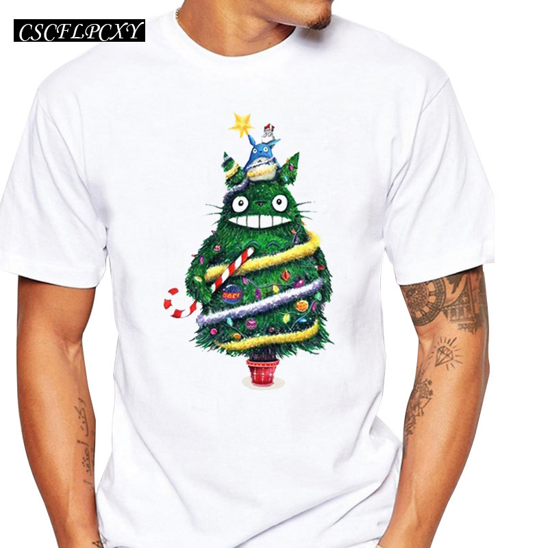Christmas Tree Totoro Men T-shirts O-Neck Short Sleeve Tops Christmas T Shirt Fashion Tees