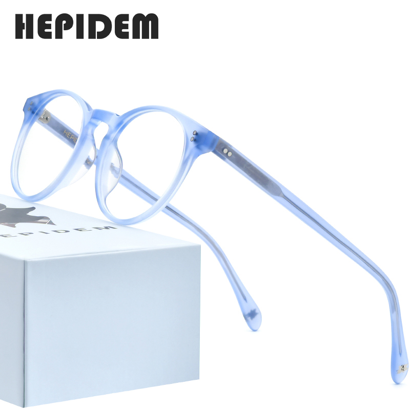 HEPIDEM Acetate Optical Glasses Frame Women 2020 New Vintage Round Eyeglasses Men Myopia Prescription Spectacles Eyewear 9113