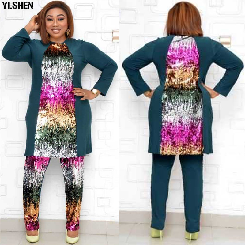 2 Piece Set African Clothes Super Size Dashiki Tops + Pants Suits African Dresses for Women Bazin Riche Africa Clothing for Lady 004