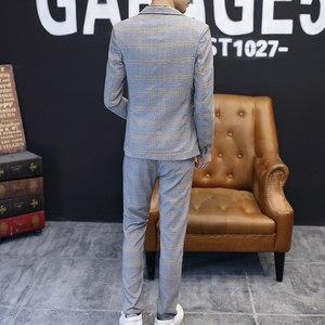 Image 5 - Heren Blazers Formele Plaid Vintage Suits Met Broek 2 Delige Set Britse Mannelijke Smoking Slim Fit Business Casual Bruiloft bruidegom