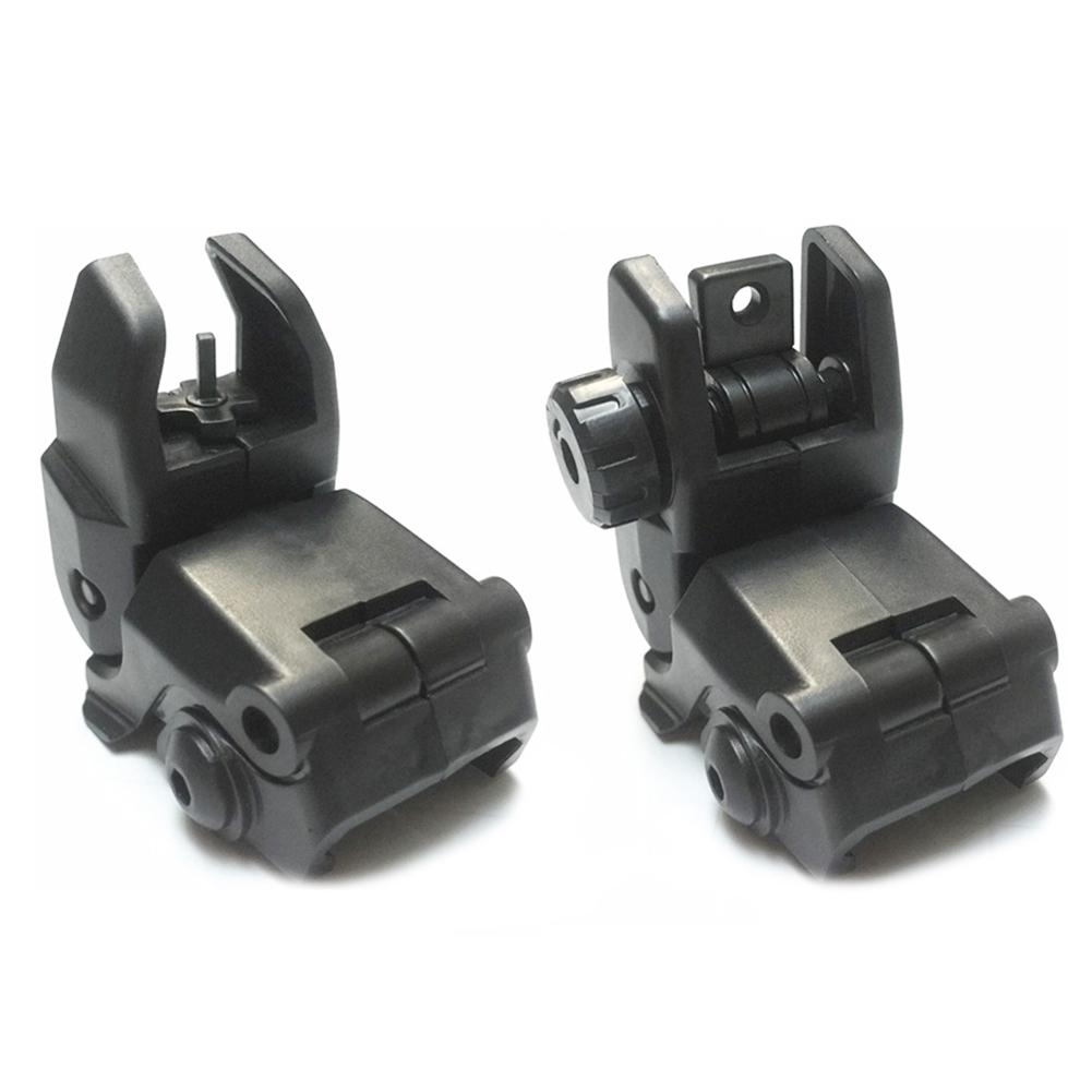 2PCS Tactical BUIS M4 AR15 AR-15 Front Rear Sight Flip Up Rapid Transition Backup Sight For Picatinny Rail