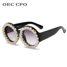 OEC CPO-gafas de sol redondas de diamante para mujer, anteojos de sol femeninos con Montura de plástico Vintage, con gradiente de color gris, con UV400