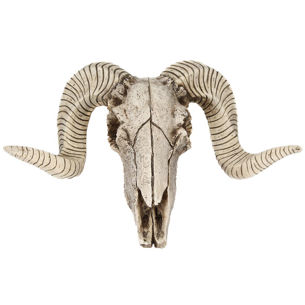 Creative 3D Horns Skull Ornament Resin Skull Retro Wall Hanging Crafts Home Office Decor Gift Animal Skull