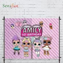 Sensfun photography backdrop pink shiny birthday surprise girl prop fabric photography backdrop photocall photobooth