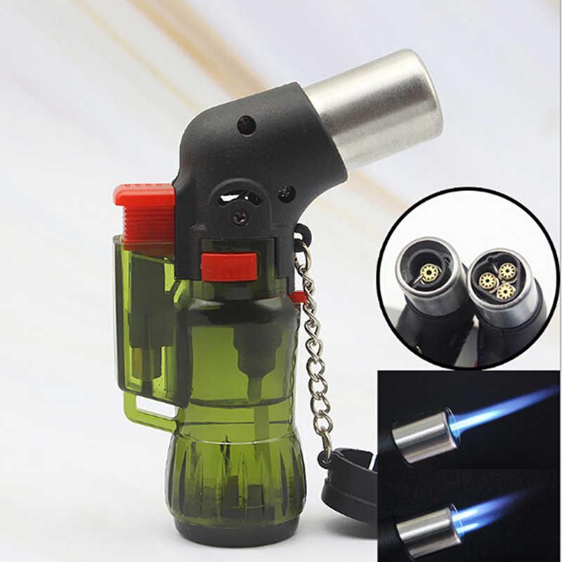 Mini Butaan Jet Sigaret Winddicht Aansteker Willekeurige Kleur Plastic Fire Ontsteking Brander Kerst Halloween Gift
