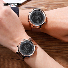Rose Gold Couple Watch Steel Mesh Belt Lovers Watches 50m Waterproof Outdoor Men Women Sport Fashion Lover Digital