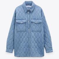 Chaqueta de algodón de talla grande para mujer, Parka de mezclilla azul Vintage, abrigo informal con bolsillos, cálido, holgado, largo, prendas de vestir para mujer 2021
