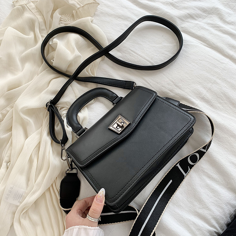 Fashion Girl Bag New Simple Wild Lock Single Shoulder Tide Bag 2020 Quality Pu Casual Diagonal Bag Female Black Khaki