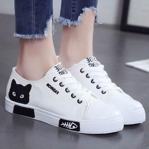 Sapatos da Moda das Sapatilhas para Mulheres Sapatas de Lona Sapatas das Senhoras dos Desenhos Nova Mulheres Vulcanize Sapatos Casuais Alpercatas Animados Branco 2020