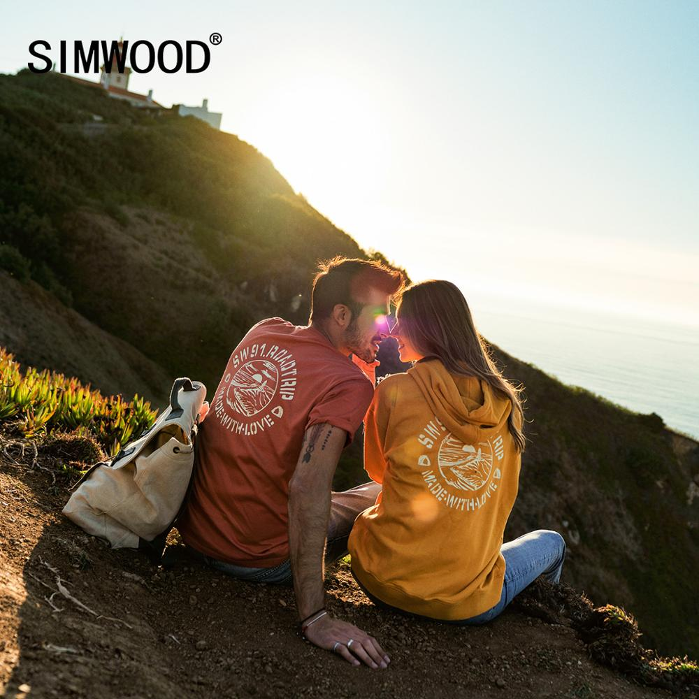 SIWMOOD 2020 Summer New Back Letter Print T-shirt Men 100% Cotton Breathable Tops Fashion Tees Lover's Clothes SJ120082