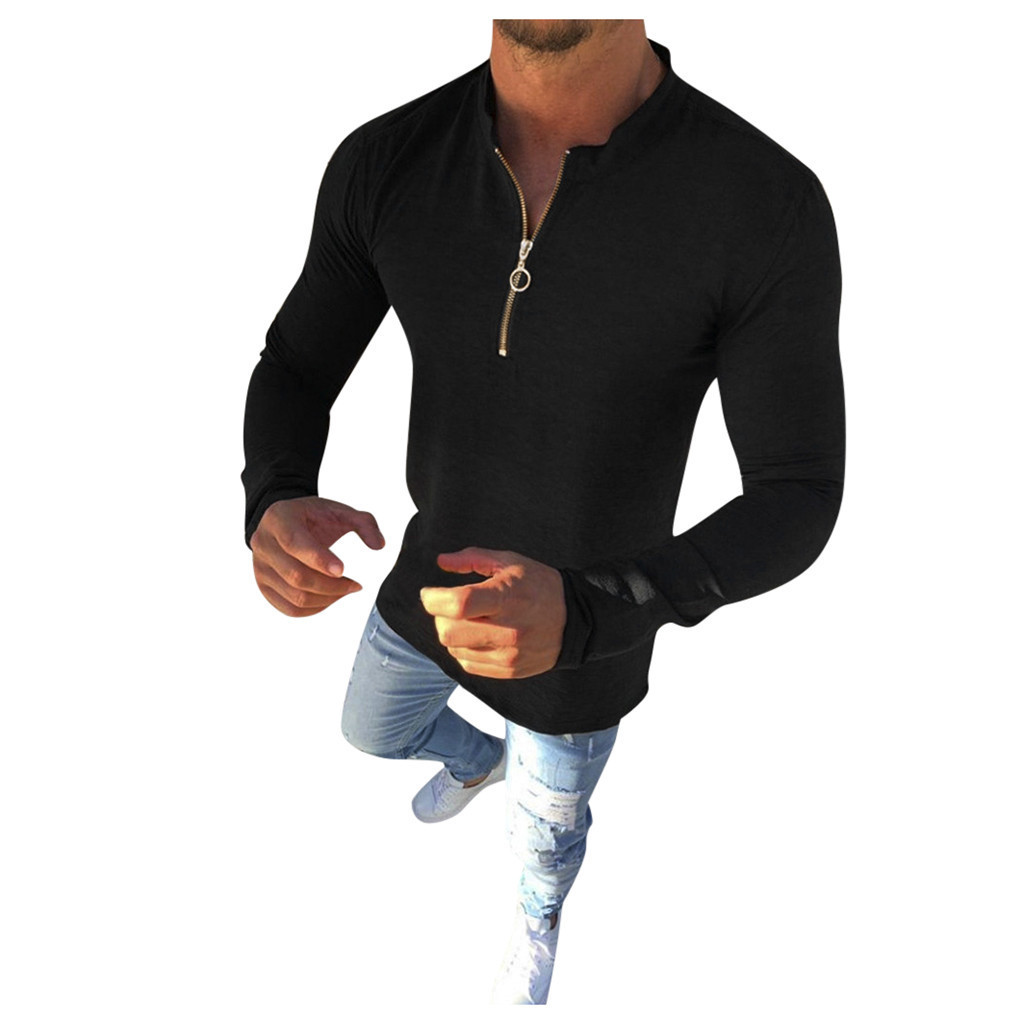 Men's Long Sleeve Solid Simple Button Cardigan Zipper Casual Slim Fit Shirt Fashion High Quality Men's Clothes