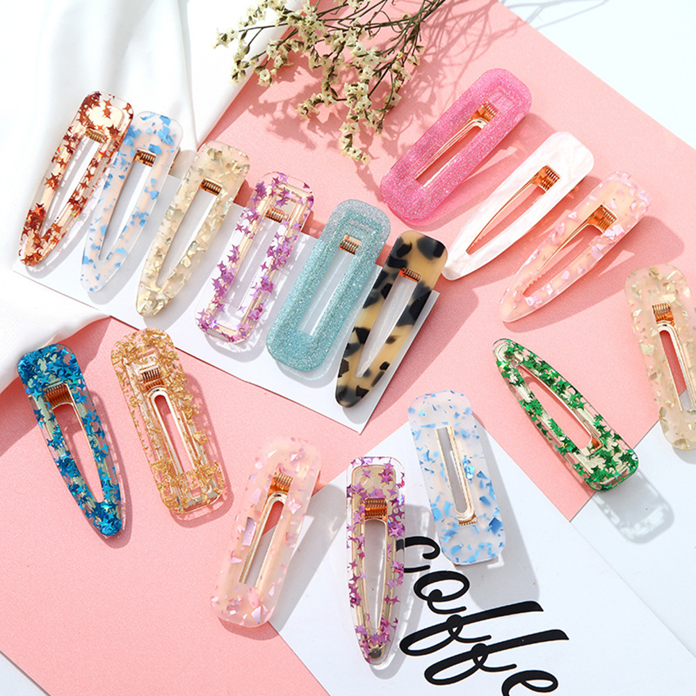 1Pcs Acetate Hollow Hair Clip For Women Leopard Marble Textured Geometric Water Drop Hairgrip Barrette Hairpin Hair Accessories