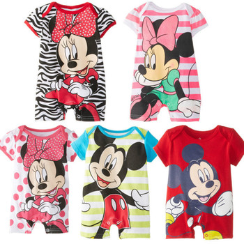 Disney Newborn Baby Boy Summer Clothes Mickey Cotton Rompers Bebes Minnie Kids Girls Clothing Toddle Jumpsuits Infant Outfits 2016 baby boys rompers summer baby boy clothing sets roupas bebes short sleeve infant baby boy jumpsuits newborn baby clothes