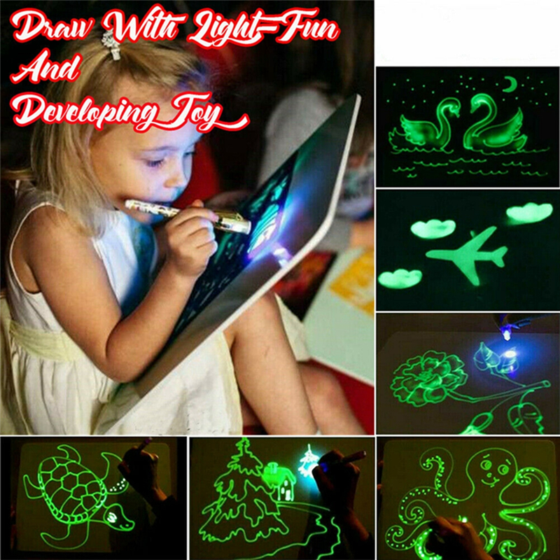 Educational Draw With Light Fun And Developing Toy Magic Draw Kids Gifts NEW Fluorescent Writing Board