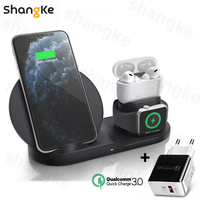 3 in 1 Fast Wireless Charger Dock Station Fast Charging For iPhone 11 11 Pro XR XS Max 8 for Apple Watch 2 3 4 5 For AirPods Pro|Wireless Chargers| |  -