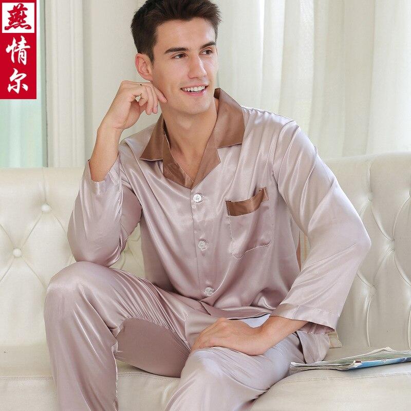 Spring Men's Long Sleeve Faux Silk Pajamas Men's  Home Set Plus Size Ice Silk Leisure Home Clothes  Mens Pajama Set 5326