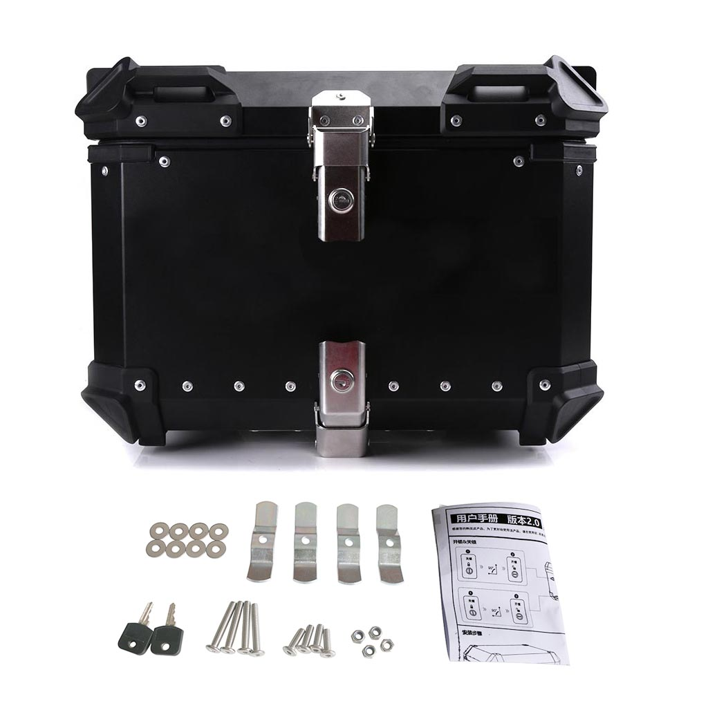 45L 55L 65L Universal Moto Rear Toolbox Trunk Storage Top Tool Box Waterproof Luggage Helmet Key Lock Case Aluminum Accessories