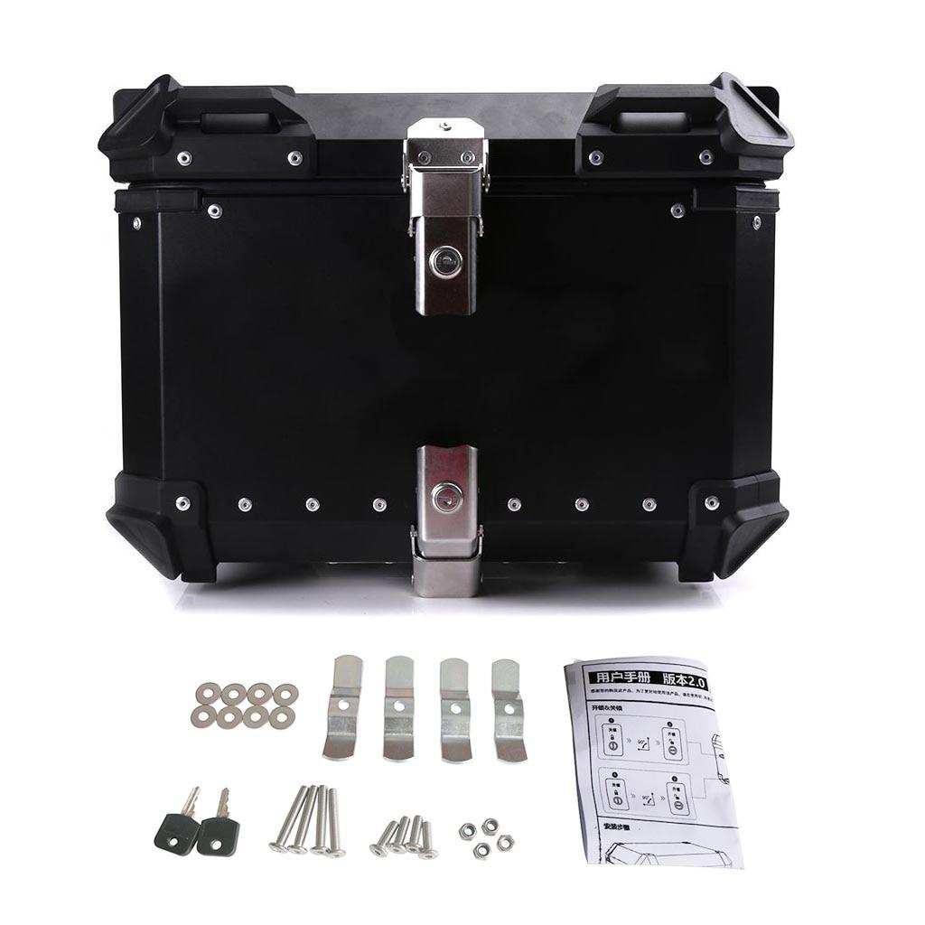 45L 55L 65L Universal Moto Rear Toolbox Trunk Storage Top Tool Box Waterproof Luggage Helmet Key Lock Case Aluminum Accessories