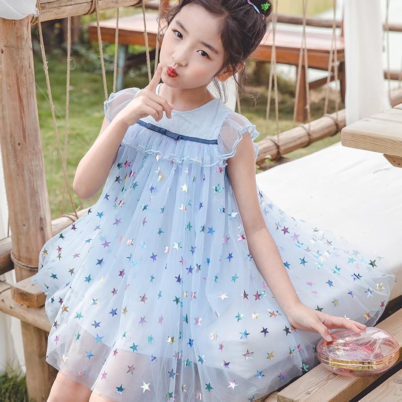 2020 Summer Baby Girls Dress Fashion Children's Wear Girls Cute Sleeveless Stars Princess Mesh Frocks Kids Clothing For Party 4