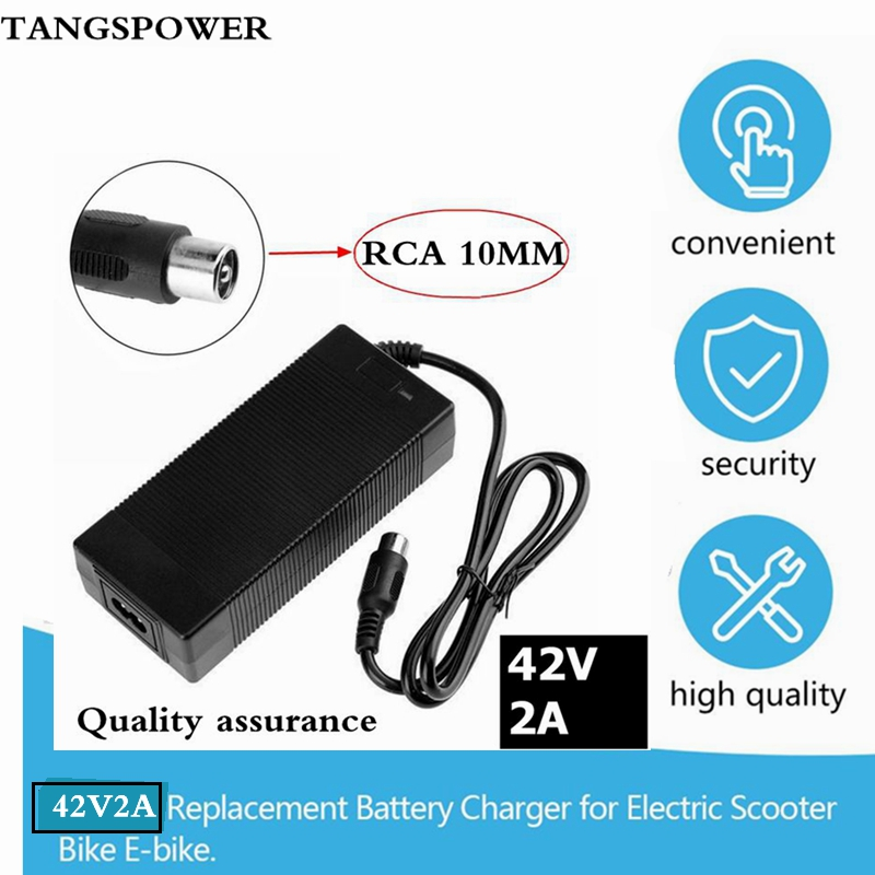 36V Charger RCA 10mm Plug Lotus Connector Output 42V 2A Electric Bike Powerboard Lithium Battery Charge Scooter