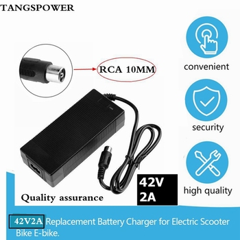 36V Charger RCA 10mm Plug Lotus Connector Output 42V 2A Electric Bike Powerboard Lithium Battery Charge Scooter 42v 2a charger for 36v 2a lithium battery charger 10 series 3 6v battery charge ebike charger