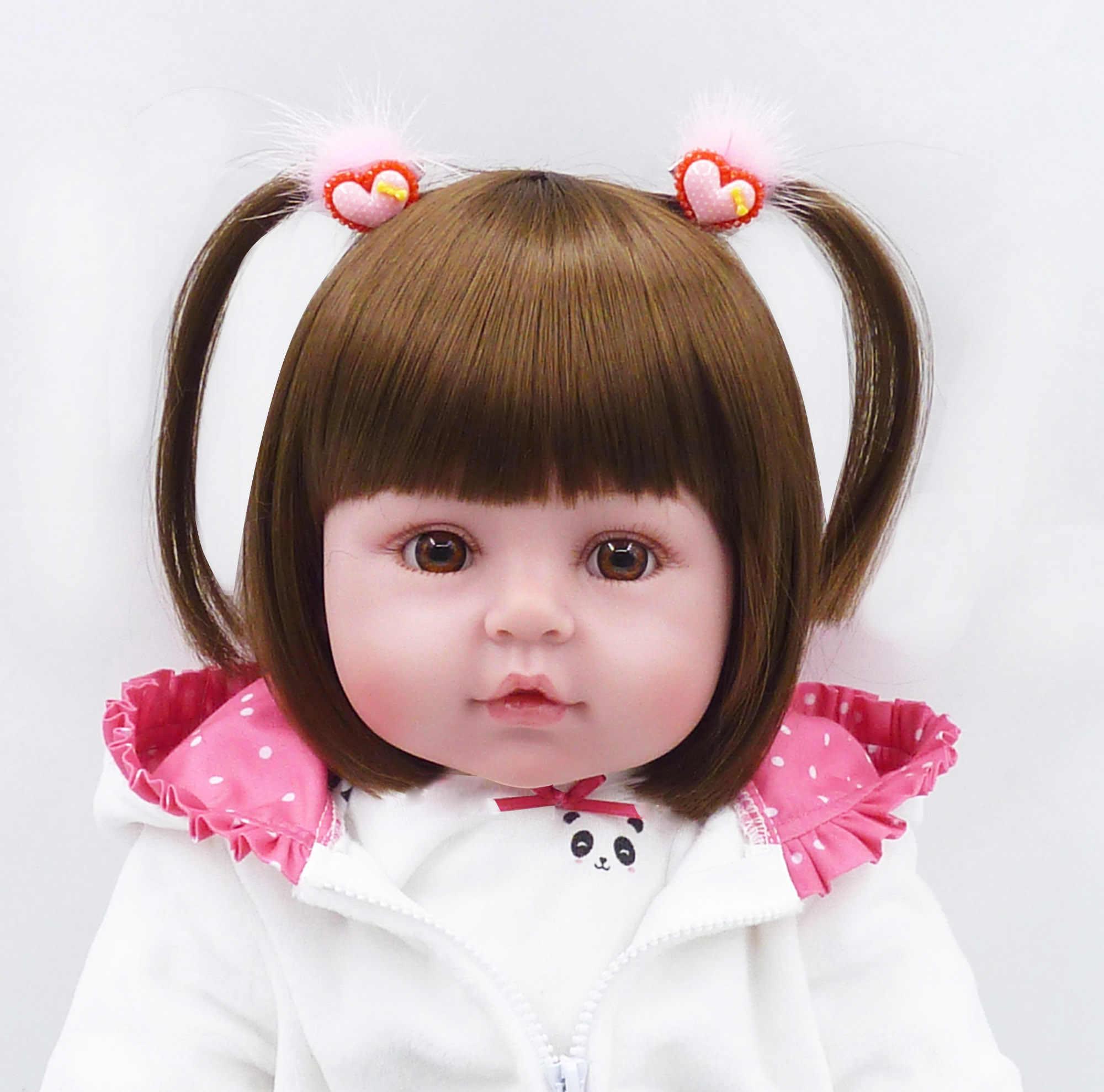 47 ซม.ซิลิโคน bebe reborn ตุ๊กตาเด็กทารกน่ารักแพนด้าน้อยเสื้อผ้าที่ดีที่สุดเด็กวันเกิดคริสต์มาสของขวัญ bebe reborn ตุ๊กตา