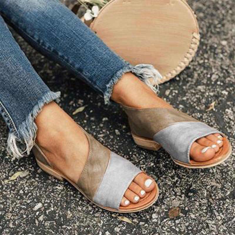 Donna Open Toe Mocassini Sandali Delle Donne Delle Signore Slip On Appartamenti Femminili Comode Scarpe Da Passeggio Da donna di Estate Calzature Plus Size 43