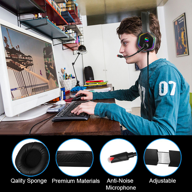 7.1 RGB LED Gaming Headset For PC PS4 PS5 Over Ear Gamer Headphones with Microphone Noise Canceling Computer Phone Gaming Helmet 4