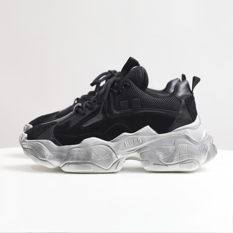 Femmes hiver grosses baskets chaussures décontractées noir 5cm plate-forme panier femme mode luxe Designers vulcanisé chaussures femme 2019
