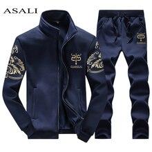 ASALI 2020 الرجال ملابس رياضية دعوى البلوز رياضية دون هوديي الرجال عارضة البدلة النشطة سستة أبلى 2 قطعة سترة + السراويل مجموعات