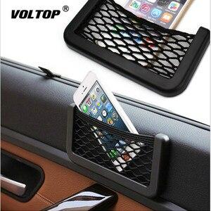 Image 1 - Car Net Bag Car Organizer Nets 15X8cm Automotive Pockets with Adhesive Visor Car Syling Bag Storage Car for Tools Mobile Phone
