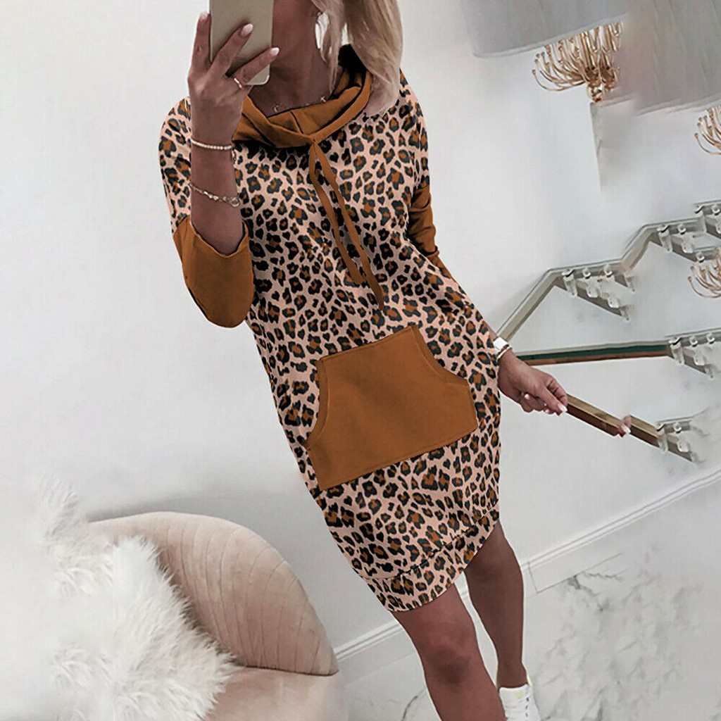 Women Plus Size Dres Autumn Long Sleeve Leopard Jumper Pullover Sweatshirt Hoodie Hooded Mini Dress With Pocket Vestido Mujer#45