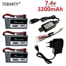 7,4 v 3200mah Lipo аккумулятор для Wltoys 12428 12423 RC четырехколесный RC автомобиль 1500mAH 7,4 v батарея Feiyue 03 Q39 RC часть зарядное устройство