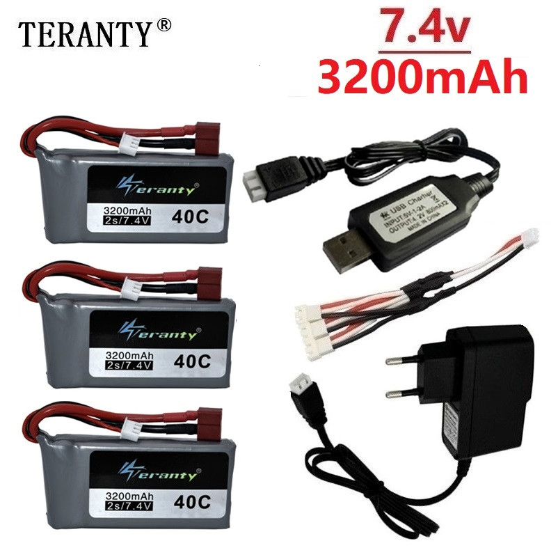 7.4v 3200mah Lipo Battery For Wltoys 12428 12423 RC Four-wheel RC Vehicle Car 1500mAH 7.4v Battery Feiyue 03 Q39 RC Part charger image