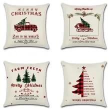 Gluckliy Christmas Santa Claus Printing Pillowcase Cotton Linen Decorative Throw Pillow Case Cushion Cover for Sofa Car Home Decor