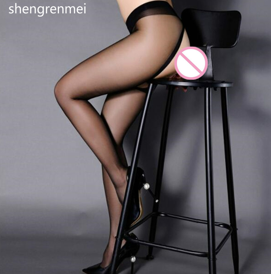 Shengrenmei 2019 Sexy Pantyhose Open Crotch Sexy Lingerie Thigh High Slik Stockings Female Nylon Stockings Black Gray Sex Tights