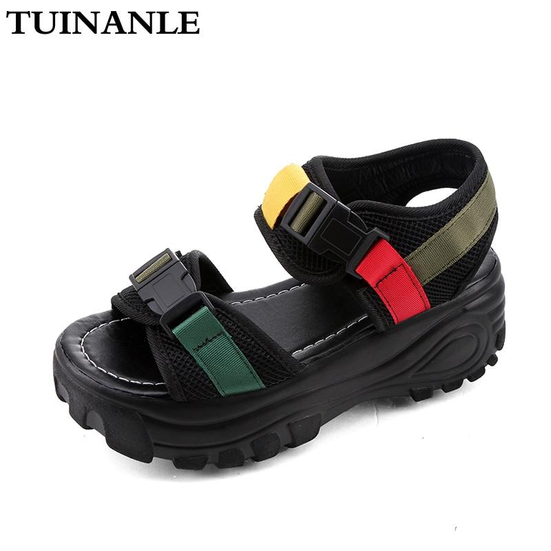 TUINANLE Platform Sandals Women 2020 Black Fashion Mesh Ladies Chunky Sandals Summer Buckle Strap Wedges Shoes Sandalias Mujer