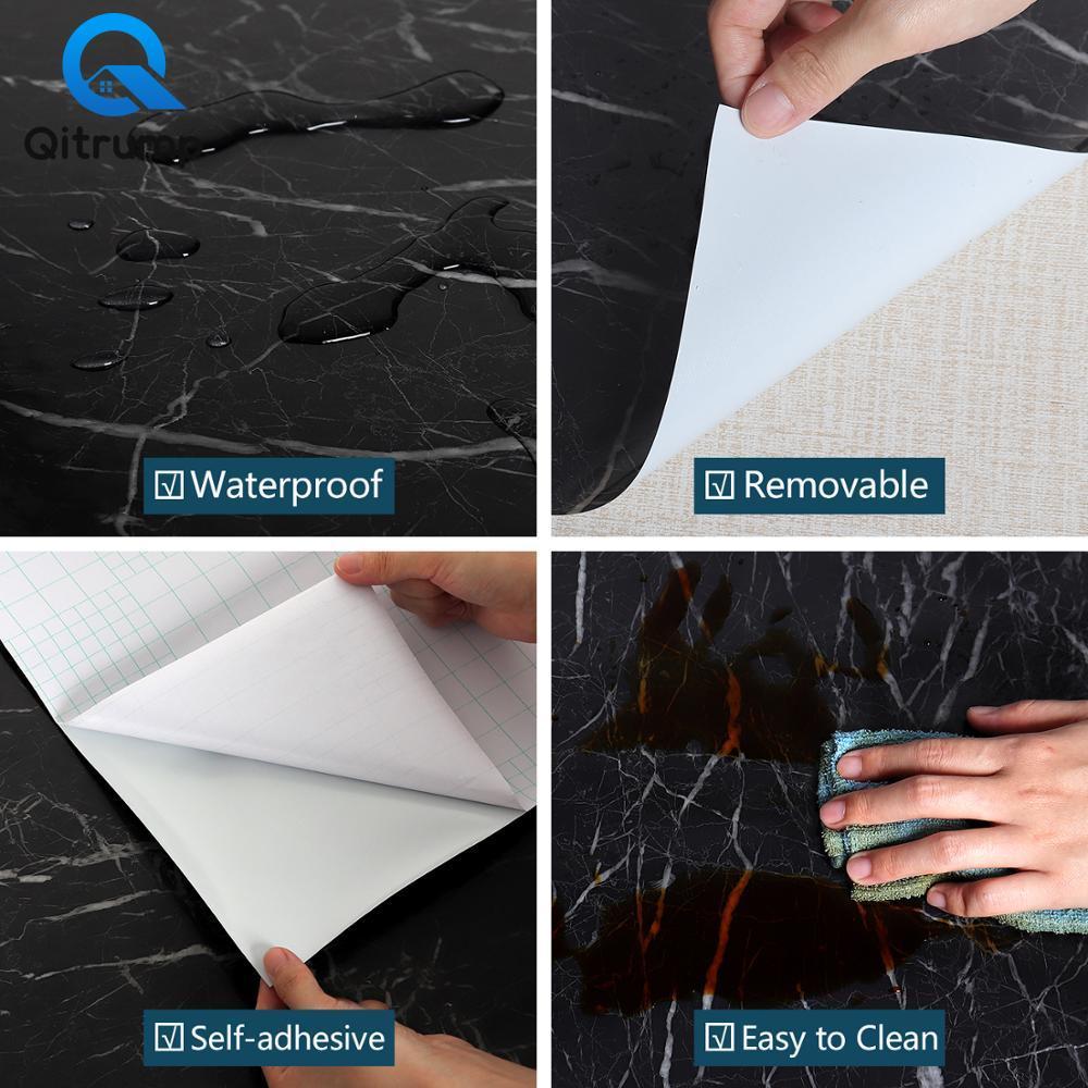 Waterproof Oil-proof Marble Self Adhesive Wallpaper Vinyl Film Wall Stickers Bathroom Bedroom Kitchen Cupboard Home Improvement 6