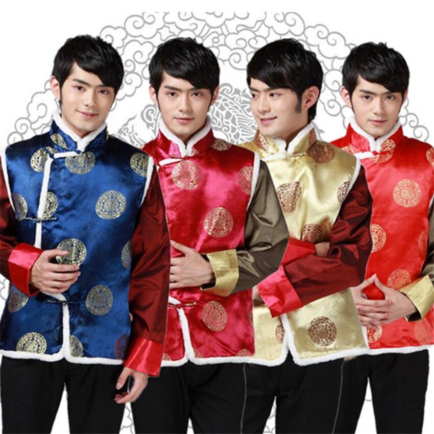 Nuevo traje Tang de estilo chino para hombres, chaleco estampado, traje de dragón de Goden grueso para hombres, Wu Tang, ropa de moda tradicional China