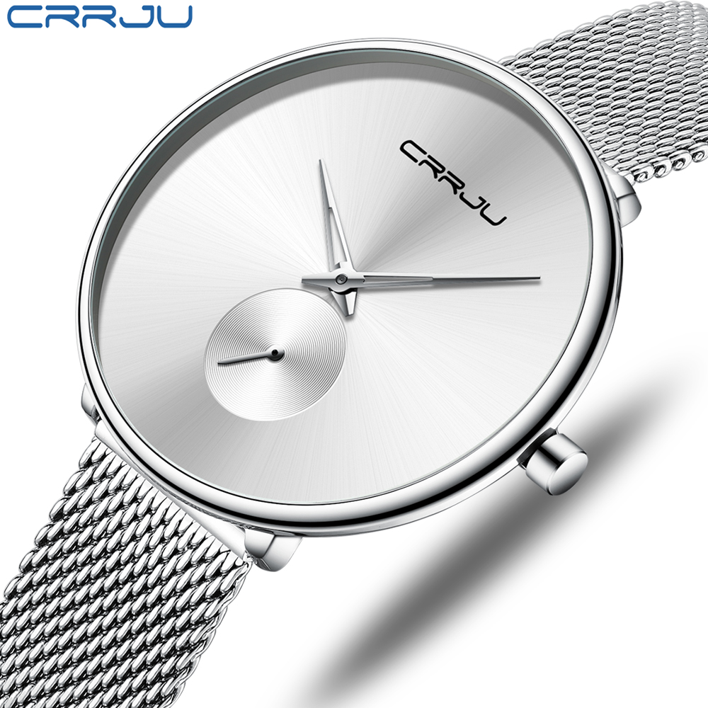 CRRJU Women's Watches 2019 Luxury Ladies Watch Fashion Minimalist Waterproof Slim Band Watches For Women Reloj Mujer