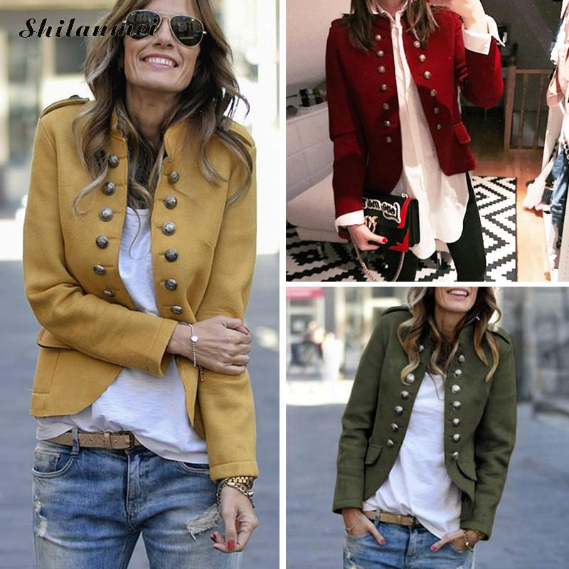 Retro Autumn   Jacket   Women Long Sleeve Army Green Bomber Female   Jacket   Yellow Slim Casual Coat Spring Streetwear   Basic     Jacket