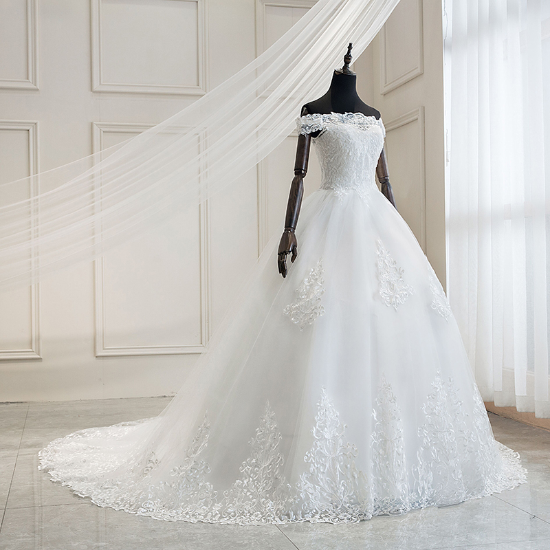 2019 Luxury Lace Embroidery Wedding Dresses Off The Shoulder 100cm Long Train Sweetheart Vestido De Noiva