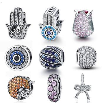 WOSTU 100% Real 925 Sterling Silver Dazzling Zircon Charm Beads Fit Original DIY Bracelet Pendants Necklace SIlver Jewelry