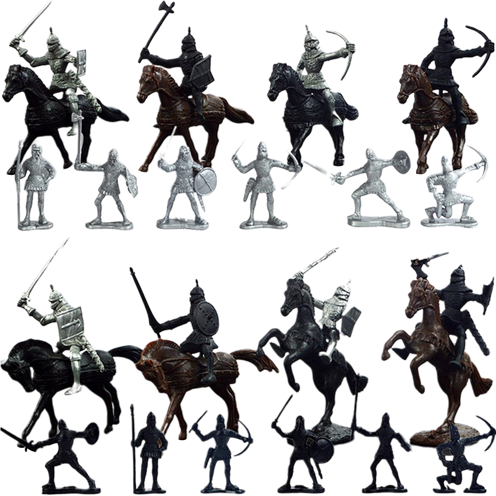 28pcs//set Knights Warrior Horses Medieval Soldiers Figures Mini Model ToyPDH