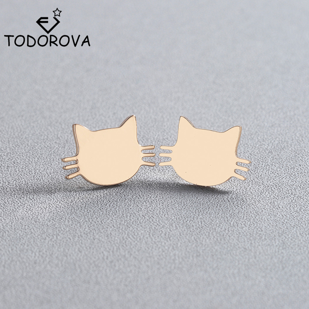 Todorova Cute Kitten Ear Studs Stainless Steel Animal Cat Stud Earrings Female Minimalist Jewelry Accessories Gifts